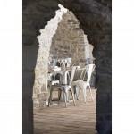 Détail de la salle de restaurant du Mas Merlet à Nîmes