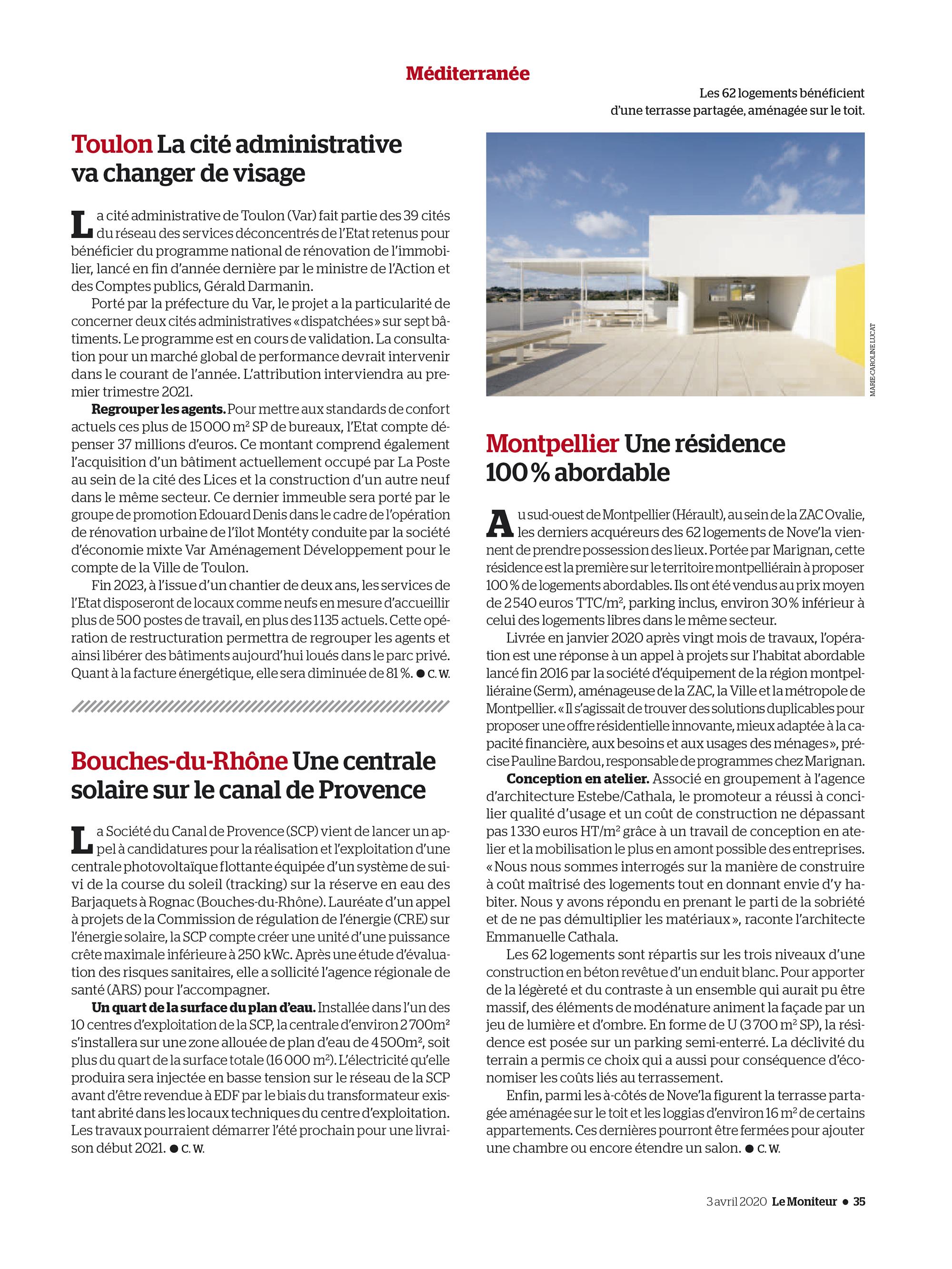 Le Moniteur N° 6078 du 03-04-2020 - Page 35 - Terrasse Partagee De La Premiere Residence Abordable Realisee Sur La Ville De Montpellier. Residence Nove'La Estebecathala-Architectes